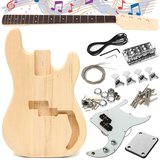 DIY Unfinished Electric Guitar Basswood Wood Body with Neck String _