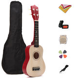 21 Inch Basswood Ukulele Hawaii Guitar Musical Instrument with Tuner Bag_