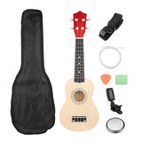 21 Inch Burlywood Soprano Ukulele Uke Hawaiian Guitar 12 Fret With Tuner Strap Carrying Bag_
