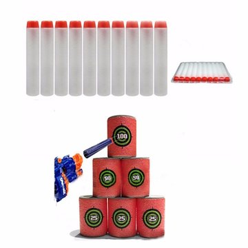 100pcs Toy Refill Darts Fluorescent Silver Bullet for Nerf N-strike Series Blasters 7.2x1.3cm