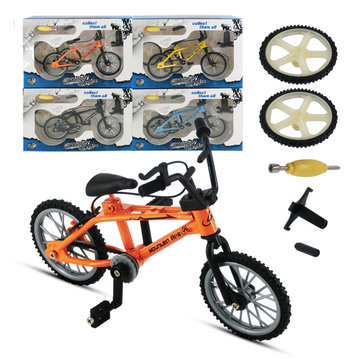 Mini Simulation Alloy Finger Bicycle Retro Double Pole Bicycle Model w/ Spare Tire Diecast Toys With Box Packaging