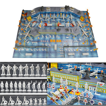 200 pcs Set Simulation Airport Scene Toy Set Aircraft Model Children's Toys Gift Decora