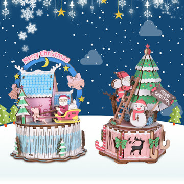 iiecreate DIY Assembled Christmas Eve en Thanksgiving Christmas Music Box Poppenhuis Model Speelgoed