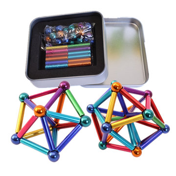 27 Stks Magneet Buck Bal 36 Stks Magnetische Speelgoed multi-color Bar Intelligente Stress Reliever Met Doos