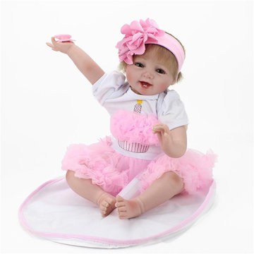 "Handgemaakte, levensechte Baby Girl Doll 22 ""Silicone Vinyl Reborn Pasgeboren Dolls Toy With Clothes"