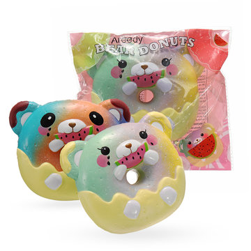 Areedy Galaxy Donuts Bear Eating Watermelon Squishy 13CC Licensed Slow Rising With Packaging