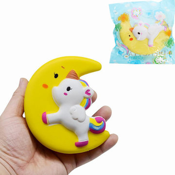 Cartoon Eenhoorn Moon Pegasus Squishy 11cm Slow Rising With Packaging Gift Soft Toy Yellow