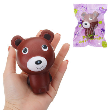 Squishy Chocolate Bear Cartoon Animal Brown Slow Rising Soft Collection Gift Decor Toy met inpakken