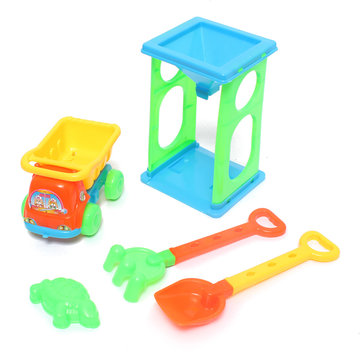 6 Pieces Seaside Beach Toy Trolley Shovel Set For Playing Sand And Water