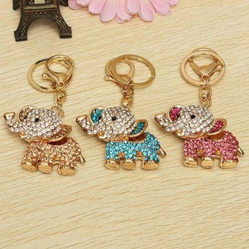 Rhinestone Elephant Keychain Metalen Charm Hanger Purse Bag Key Ring