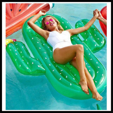 1.8m PVC Inflatable Cactus Floating Raft Summer Water Supplies Cactus Riding Floating Bed Beach Play Toys