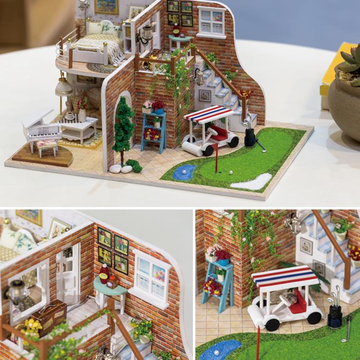 Hoomeda 1/24 DIY Houten Golf Tour Met LED + Furniture Dollhouse