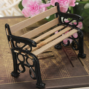 Pleasing 1 12 Wooden Bench Black Metal Dollhouse Miniature Garden Furniture Accessories Ocoug Best Dining Table And Chair Ideas Images Ocougorg